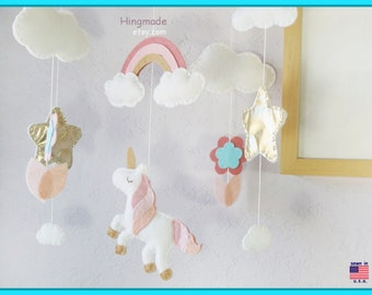 Unicorn Mobile, Unicorn Nursery, Baby Girl Mobile, Magic Unicorn, Sweet Unicorn Rainbow and Flower, Pink White Aqua Blue and Gold