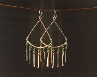 Chrome Diopside Gold Filled Earrings, Hammered Textured Chandelier Earrings, Wire Wrapped, Green and Gold, Tear Drop Statement Earrings