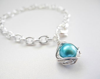 Bird Nest Jewelry, Robin's Egg Blue Colored Cultured Freshwater Pearl Wire Wrapped Charm Bracelet