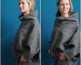 indoor woolen poncho // high collar sweater // big turtle neck top // assymetrical // grey