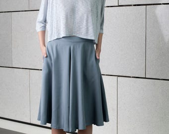 Blue midi skirt, office full circle, classic skirt, casual Skirt, high waist skirt, blue summer skirt, short skirt, minimal, knee length