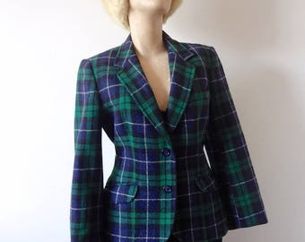 1960s Plaid Wool Jacket - vintage preppy blazer - women's suit coat by The Villager