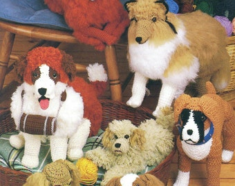 Crochet Pedigree II DOGS Annie's Attic Stuffed Soft Toy Dogs Collie, Boxer, Irish Setter, Golden Retriever, English Springer Spaniel