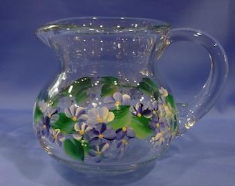 Hand Painted Glass Pitcher Creamer Vase Navy Blue White Daisies Hydrangeas Flowers Shabby Chic
