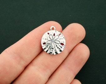 4 Sand Dollar Charms Antique Silver Tone - SC6699