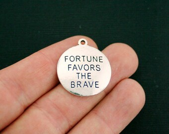 4 Brave Charms Antique Silver Tone - Fortune Favors the Brave - SC7046