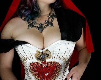 Hand Beaded Corset - Sacred Heart 26in Steel Boned Corset