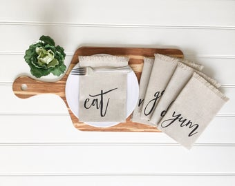 Linen Napkins - Eat Napkins Cloth Napkins Yum Napkins Dinner Napkins Tablescape Kitchen Decor Table Setting Outdoor Entertaining Farmhouse