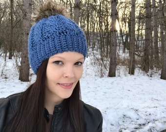 Country Blue With Brown Fur Pom Pom Crochet Cable Hat, Fits Teens to Women, Blue hat, Fur Pom, Winter Beanie, Photo Prop
