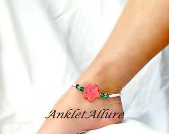 Beach Anklet Coral Flower Anklet Cruise Anklet Vacation Ankle Bracelet