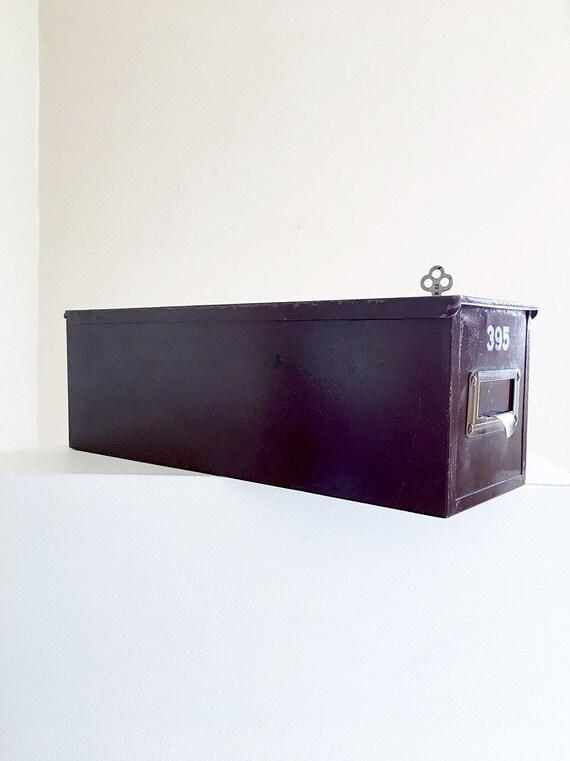 Rustic Metal Lock Box With Key Vintage Safety Deposit Box Commercial Lock Box Industrial Decor Office Document Storage Bin Brown Metal Box