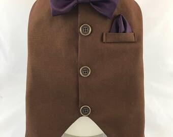 Vest with hanky, wedding vest, dog tux, fancy dog vest with hanky, elegant dog vest, affordable dog vest, formal dog vest, fancy dog vest
