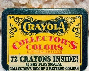 Crayola Crayon Tin Box with Crayons Inside 1991 New Green Yellow Collectible