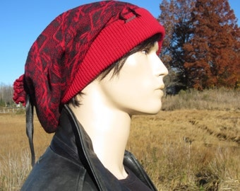 Extra Long Beanies Oversized Big Dreadlock Slouch Tam Hat Red & Gray Thick Warm Winter Fair Isle Knit Baggy w/ Leather Tie Back  A1677