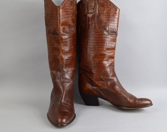 Vintage Boots Sesto Meucci Size 9 B Brown Leather Embossed Lizard Flame Cutouts Italian Made Boots
