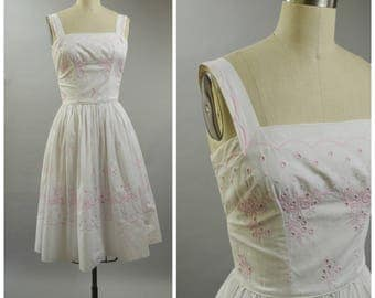 1950s 1960s An Arkay White Cotton Dress with Pink Eyelet and Embroidery Size Small Fit and Flare Sun Dress