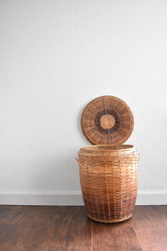 wicker rattan umbrella linen basket / waste basket / bamboo storage