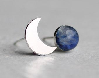 Silver Moon Earrings ... Moonstone Stud Post Earrings Crescent