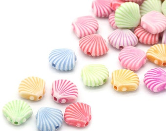 1 oz bag,  Acrylic Shells Spacer Beads, Mix colors, 12 mm