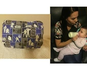 Baby feeding/breastfeeding pillow in Star Wars design with black minky