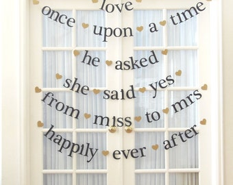 mr & mrs.  happily ever after.  once upon a time.  5 Wedding Banners+FREE GIFT BANNER.  Wedding Decorations.  5280 Bliss.  Ships Priority.