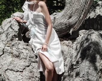 White Short Dress, Silk Tunic, Sleeveless Tunic, Short Wedding Dress, Little White Dress, Couture Dress, Bridal Dress, White Party Dress