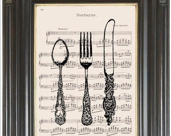 Kitchen decor wall art print Cutlery on music or dictionary pg Wall decor Dictionary art Sheet music print Digital art print  No. 2291