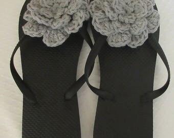 Black Flip Flops, Women's Black Flip Flops, Size Medium 7 - 8,  Flower Flip Flops, Summer Shoes, Hide my Ugly Toes