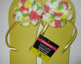 Yellow Flip Flops, Women's Size Small 5-6, Flower Flip Flops