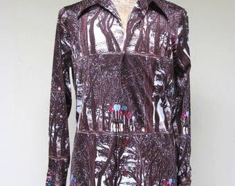 Vintage 1970s Shirt / 70s Mens Surreal Art Print Disco Shirt / Medium