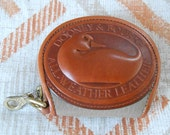 Vintage 1980s DOONEY & BOURKE carved leather duck coin pouch / keychain