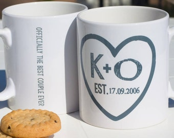 Personalised Heart Couple Mug | Initials | Valentines Day | Wedding | Anniversary | Custom | Gift | For Her | For Him