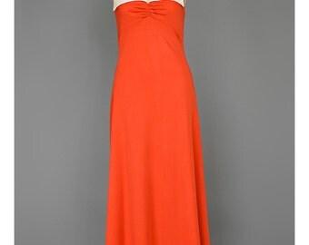 SALE - Vintage 70s Maxi Dress Evening Gown Long Red Dress White Satin Collar Mod Dress Empire A Line Dress 1970s Disco Prom Dress