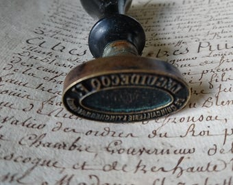 Superb antique French hardware store ironmongers quincaillerie stamp c1900 Ebonised wood and brass