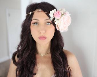 Flower Halo, pink, crown, wedding, bridal, halo, summer, bride, festival, hair accessory, wreath, beach wedding, destination