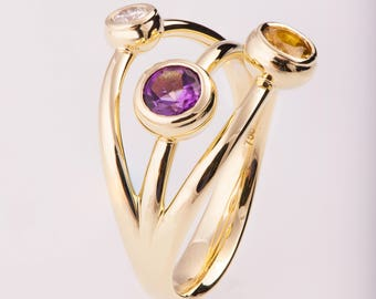 Three Stone Ring, Tricolor Ring, Diamond ring, Amethyst ring, unique engagement ring, statement ring, promise ring, Multi stone ring, R023