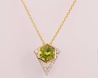 Hexagon Pendant, Art Deco Pendant, Peridot Pendant, Two Tone necklace, diamond pendant, gift, diamond pendant, August Birthstone