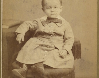 Antique Cabinet Photograph Adorable Identified toddler