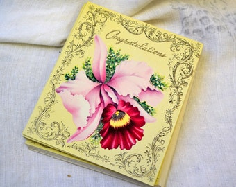 1940s NOS Orchid Congratulations Card with Envelope