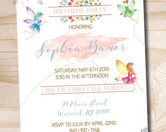 Fairy Birthday Invitation // Woodland Fairy Birthday Invitation // Fairy Birthday // Floral Invitation - Custom PDF or Printed Invitation