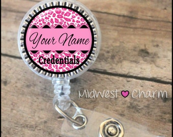 pink cheetah..Personalized retractable badge reel pinch...nurse.labor and delivery..lpn..rn..md..id holder..lanyard..bottlecap jewelry