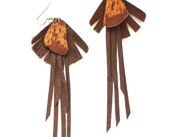 Cowhide Textured and Cut Detail Brown Leather Earrings with Fringe