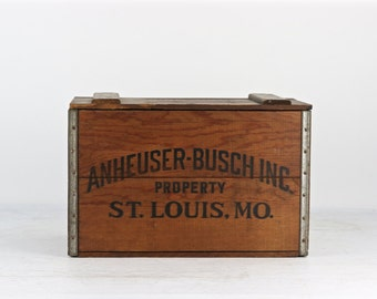 Vintage Beer Crate Anheuser-Busch Beer Crate 1976 Budweiser Beer Crate Budweiser Old Beer Crate Bud Wood Crate Anheuser-Busch Box