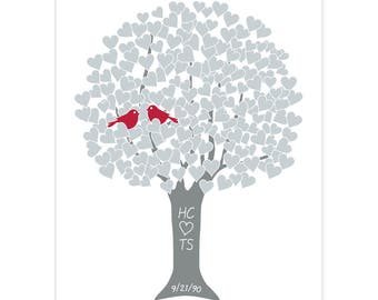 Silver 25th Anniversary Gift for Couple Love Tree Art Print w Custom Monogram Name Date for Engagement Shower Wedding Present Many Colors