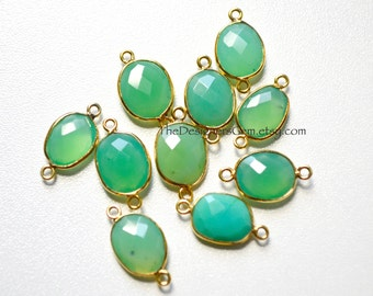Green Chrysoprase Gold Connector, Vermeil Chrysoprase Connector, Green Chalcedony Connector, Gold Bezeled Stone, 19 x 10mm