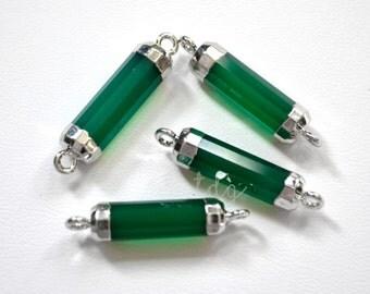 Green Chalcedony Bar Connector, Silver Chalcedony Pendant, Green Chalcedony Stone Bar, Silver Dipped, Bar Connector, 28 x 6mm