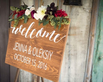 Personalized Wedding Welcome sign with names and date wooden sign by Dressingroom5