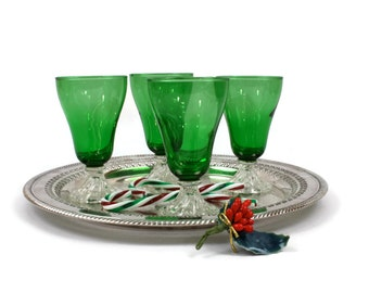 Green Glass Tumblers - SET of 4, Footed Tumblers, Green Glassware, 6 Oz., Anchor Hocking Glass, Christmas Table Decor, c1950s