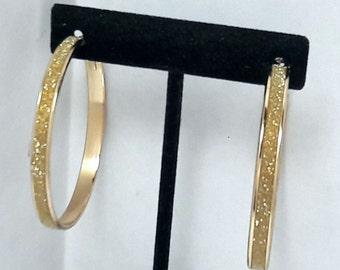 Vintage Gold Sparkle Hoop Earrings