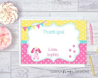 SALE Puppy Party Thank You Card Digital Two 4x6 cards on 8.5x11 JPEG